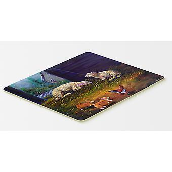 Corgi Chaos in de schuur met schapen keuken of Badmat 20 x 30