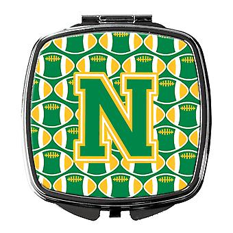 Carolines Treasures  CJ1069-NSCM Letter N Football Green and Gold Compact Mirror