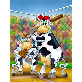 Carolines tesori APH0534GF mucca giocare Baseball bandiera giardino dimensione
