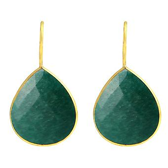 Gemshine - CANDY - emerald - green - gold plated ladies - earrings - 925 Silver - - drop - 3.5 cm
