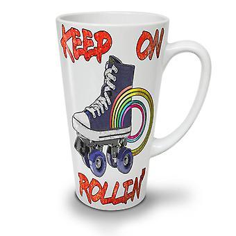 Rollin Disco Old NEW White Tea Coffee Ceramic Latte Mug 17 oz | Wellcoda