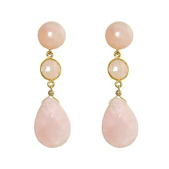 GEMSHINE earrings with Rose Quartz gemstones. Drop earrings 925 Silver, gold plated, gold plated rose. Made in Munich, Germany. Delivered in the elegant jewelry. Also as a SET with the necklace