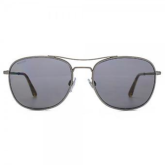 Giorgio Armani Frames Of Life Pilot Sunglasses In Matte Gunmetal Polarised