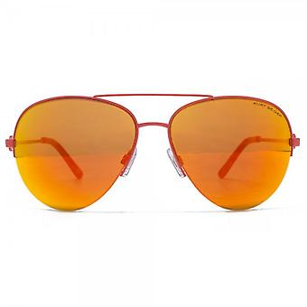 Kurt Geiger Grace Semi Rimless Pilot Sunglasses In Coral Red Mirror