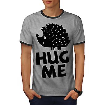 Hug Me Hedgehog leuke mannen Heather Grey / Heather donkere T-shirt van de GreyRinger | Wellcoda