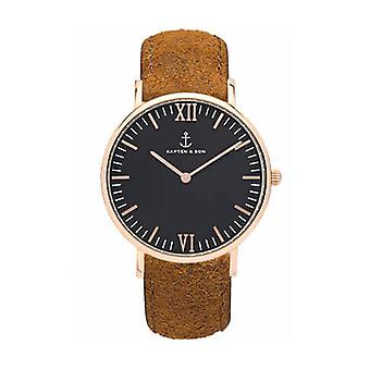 Truncated and Son Watch Black Brown Vintage Leather 4251145223571 Campus