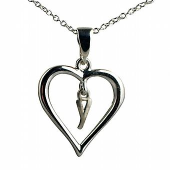 Silver 18x18mm initial Y in a heart Pendant with a rolo Chain 20 inches