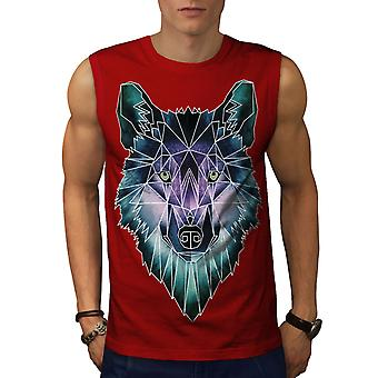 Psychodelic Wolf män RedSleeveless T-shirt | Wellcoda