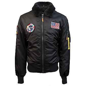 Top Gun B 15 Nylon Bomber Jacket with Removable Patches Black