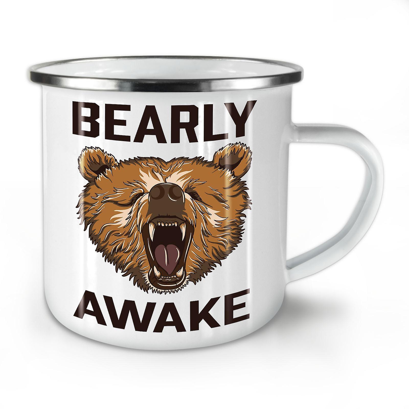 OzWellcoda Émail Mug10 Grizzly Bearly Nouveau Éveillé Whitetea Café XZiPOkuT