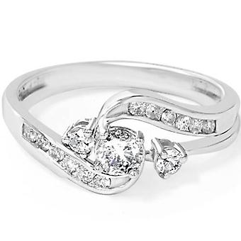 1 / 2ct Twist Diamond Engagement trouwring Set 14K White Gold