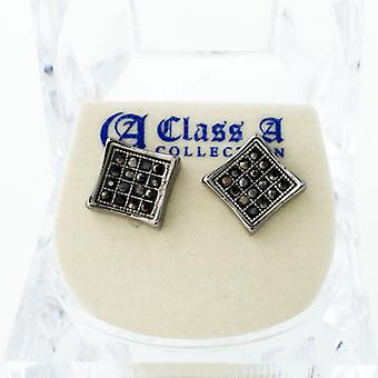 Black Bling Iced Out Ohrstecker - PAVE SQUARE 9mm