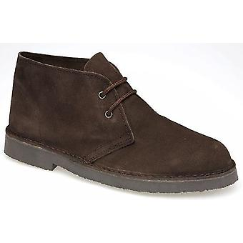 Mens Leather Suede Roamers Classic Retro Desert Lace Up Ankle Boots Shoes