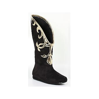 Ellie Shoes E-103-Alba Flat Microfiber Boot with Gold Trim