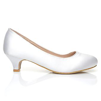 CHARM White Satin Low Heel Round Toe Comfort Bridal Court Shoes