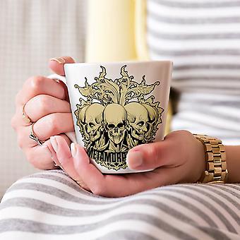 Metamorfoza śmierci czaszki Nowa Biała herbata kawa Latte ceramiczny kubek 17 oz   Wellcoda