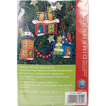 Holiday Homes Ornaments Felt Applique Kit-Up To 5