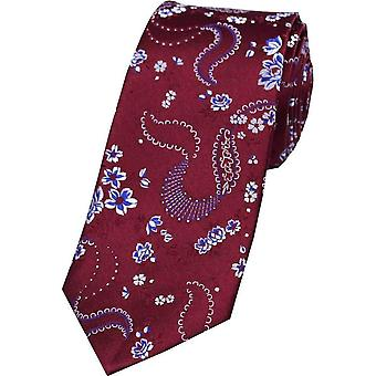 David Van Hagen Flower Pattern Silk Tie - Wine Red