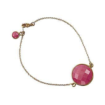 Gemshine - mujer - pulsera - oro 19 cm plateado - faceta Ruby - rojo-