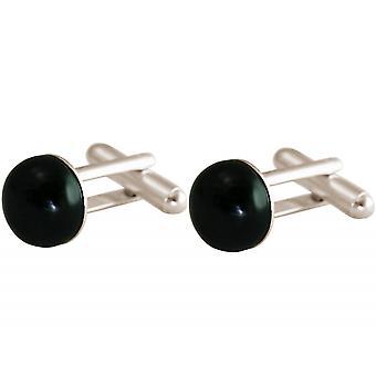 Gemshine - manschettknappar - 925 Silver - Onyx - svart - 12 mm