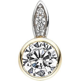 Trailer 375 gold yellow gold bicolor 4 cubic zirconia pendant gold