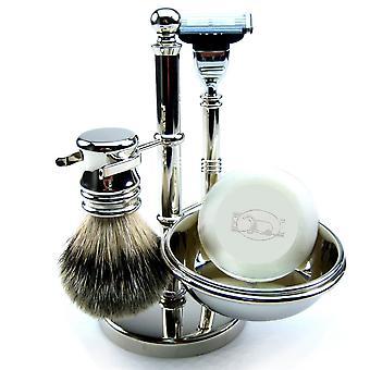 Barbering settet 4-brikke med ekte grevling hårbørste, såpeskål, våt barberblad Mach3