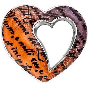 Anheng hjertet 925 sterlingsølv med emalje oransje hjerte anheng sølv anheng