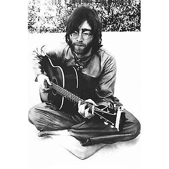 John Lennon Sitting Sitting With Guitar Poster Print