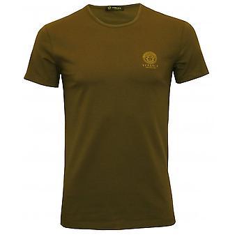 Versace icónico-algodón del estiramiento shirt, caqui