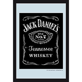Jack Daniel's Black Label Vintage mirror wall mirror with black plastic framing wood