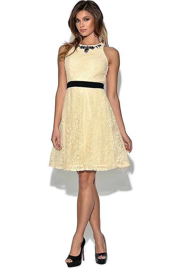 Little Mistress Lace Embellished Flare Dress