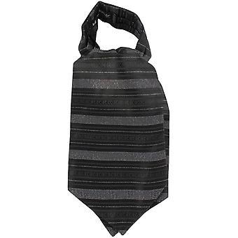 Knightsbridge Neckwear Horizontal Stripe Silk Cravat - Black/White