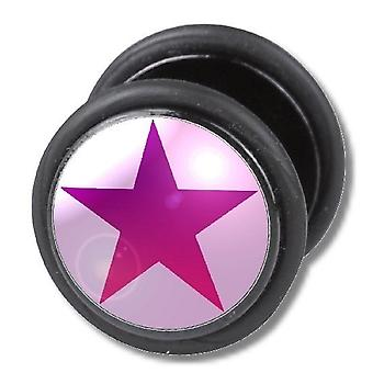 Fake Cheater Ear Plug, Earring, Body Jewellery, Pink Star