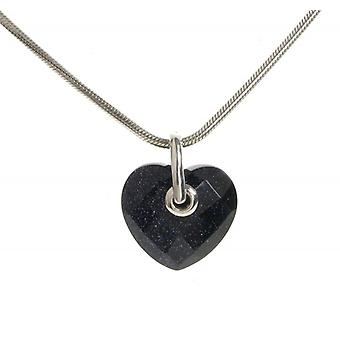 Cavendish French Simple Faceted Blue Sandstone Heart Pendant without Chain