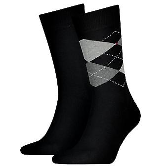 Tommy Hilfiger 2 Pack Check Sock - Black