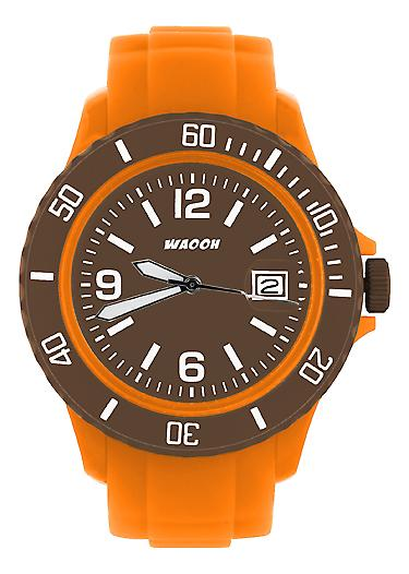 Waooh - Montre MONACO38 Orange Cadran & Lunette Couleur