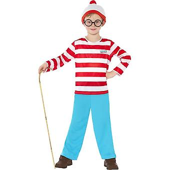 Where's Wally? Costume, Red & White, with Top, Trousers, Glasses & Hat