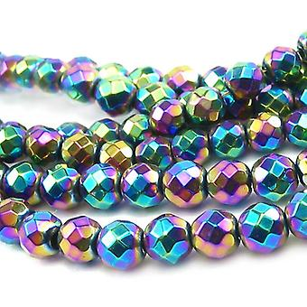 Strand 62+ Rainbow Hematite (Non Magnetic) 6mm Faceted Round Beads GS9613-3