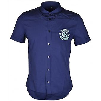 Love Moschino Embroidered Slim Fit Stretch Short Sleeve Navy Shirt