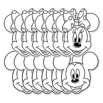 Mickey Mouse et Minnie Mouse Couleur et Gardez Parti carte Masques ensemble de 12