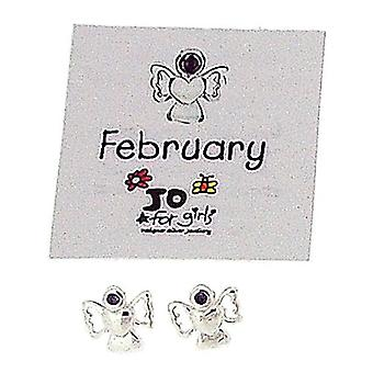 Jo For Girls Sterling Silver February Simulated Birthstone Angel Stud Earrings