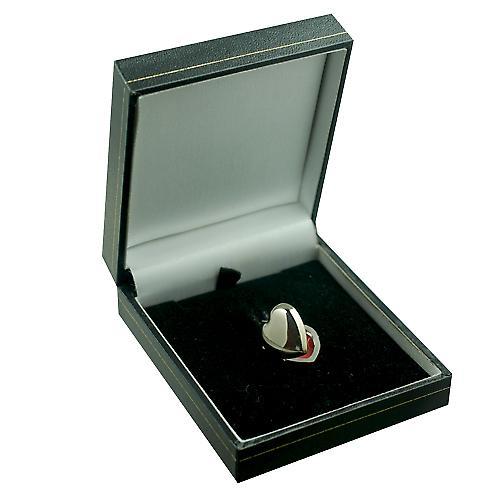 18ct White Gold 17x16mm plain heart shaped Locket