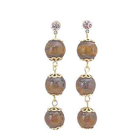 Tiger Eye Bead 22K Gold Plated Hook Chain Surgical Post Earrings