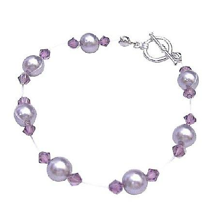 Cheap Swarovski Mauve Pearls w/ Amethyst Crystals Bridesmaid Bracelet