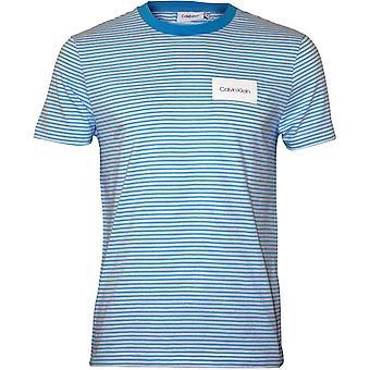 Calvin Klein rayas finas parche insignia-shirt, azul de cielo