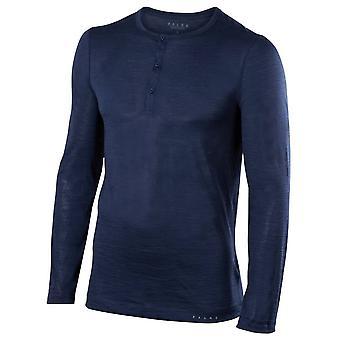 Falke-Seide-Wolle-Langarm-Shirt - Space Blau