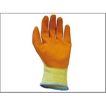 Scan stricken Shell Latex-Handfläche Handschuhe Orange Pack 12