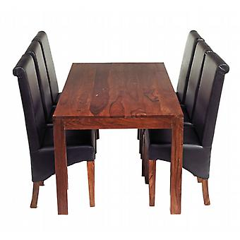 Oslo Sheesham 6 Seater Dining Set With Leather Chairs