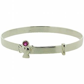 Jo For Girls 925 Sterling Silver July Birthstone Angel Ruby Color Bangle