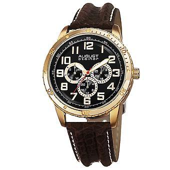 August Steiner Men's AS8116YG Multifunction Leather Strap Watch